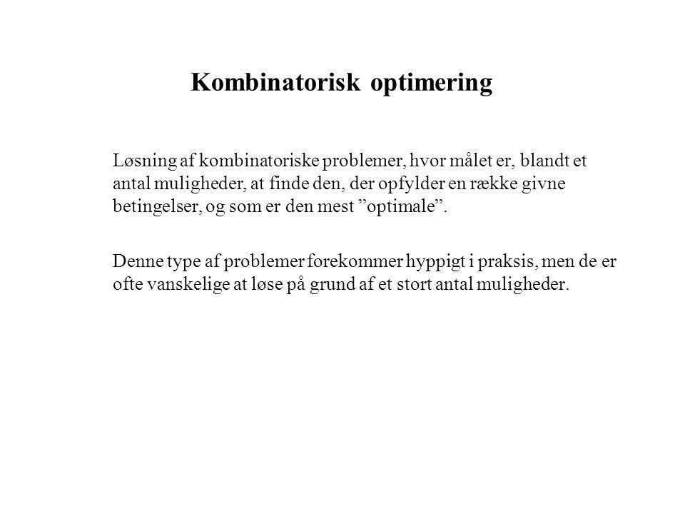 Kombinatorisk optimering Løsning af kombinatoriske problemer, hvor målet er, blandt et antal muligheder, at finde den, der opfylder en række givne betingelser, og som er den mest optimale .