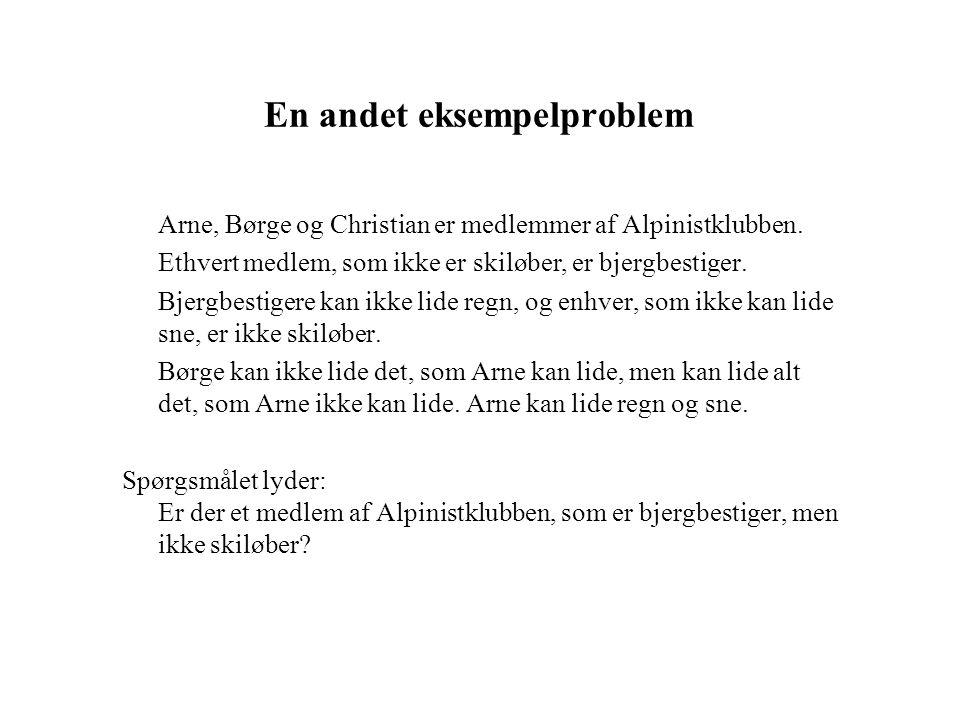 En andet eksempelproblem Arne, Børge og Christian er medlemmer af Alpinistklubben.