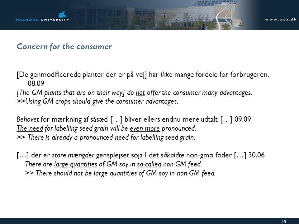 15 Concern for the consumer [De genmodificerede planter der er på vej] har ikke mange fordele for forbrugeren.