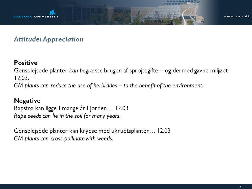 7 Attitude: Appreciation Positive Gensplejsede planter kan begrænse brugen af sprøjtegifte – og dermed gavne miljøet 12.03.