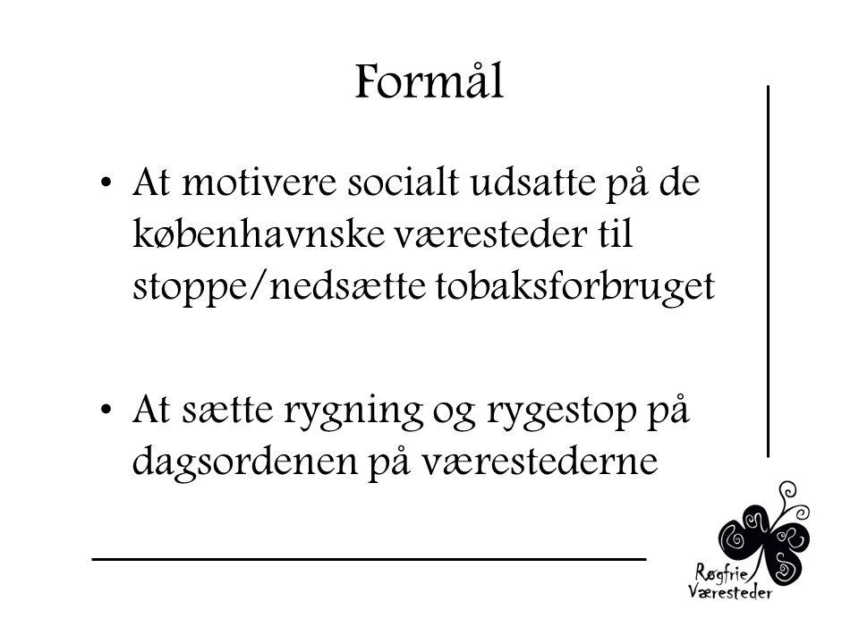 Formål At motivere socialt udsatte på de københavnske væresteder til stoppe/nedsætte tobaksforbruget At sætte rygning og rygestop på dagsordenen på værestederne