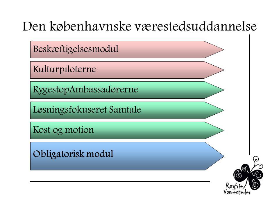Den københavnske værestedsuddannelse Obligatorisk modul Kost og motion Løsningsfokuseret Samtale RygestopAmbassadørerne Kulturpiloterne Beskæftigelsesmodul