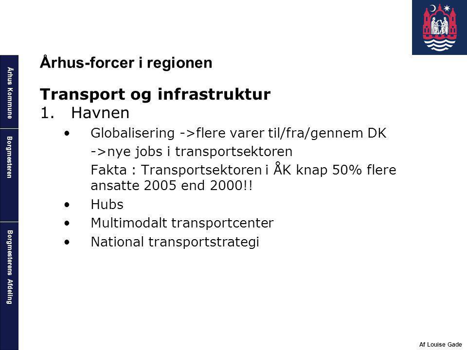 Århus Kommune Borgmesterens Afdeling Borgmesteren Af Louise Gade Århus-forcer i regionen Transport og infrastruktur 1.Havnen Globalisering ->flere varer til/fra/gennem DK ->nye jobs i transportsektoren Fakta : Transportsektoren i ÅK knap 50% flere ansatte 2005 end 2000!.