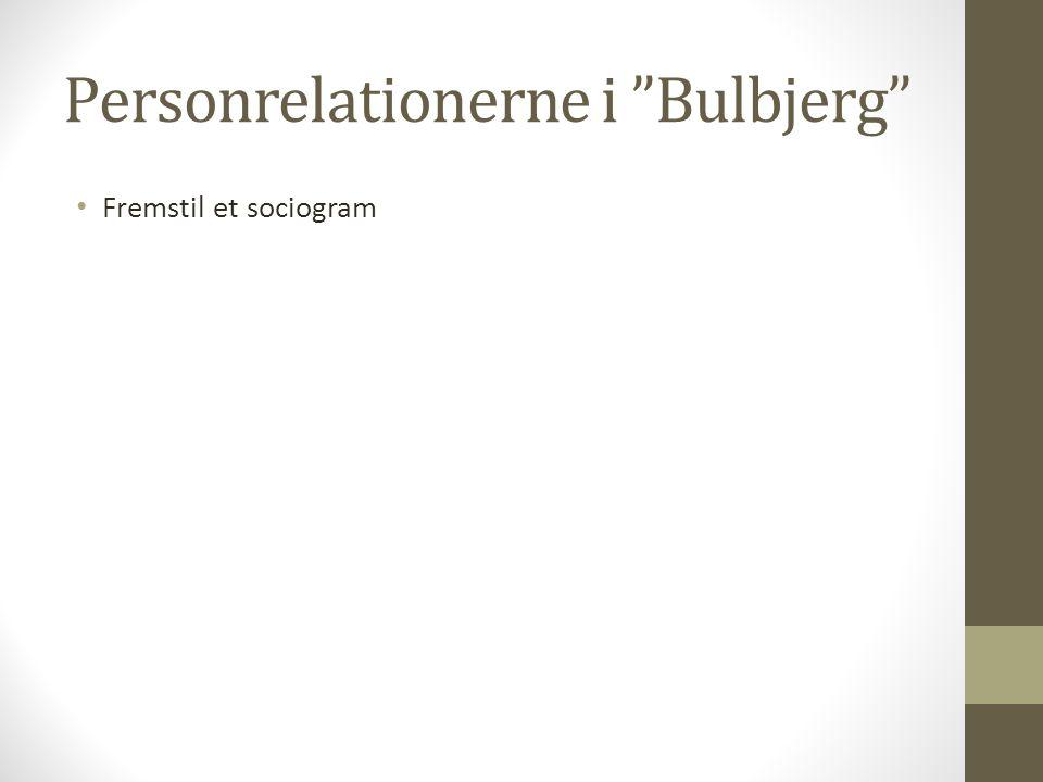 """Personrelationerne i """"Bulbjerg"""" Fremstil et sociogram"""
