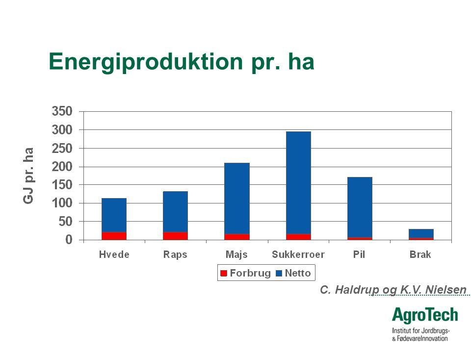 Energiproduktion pr. ha C. Haldrup og K.V. Nielsen