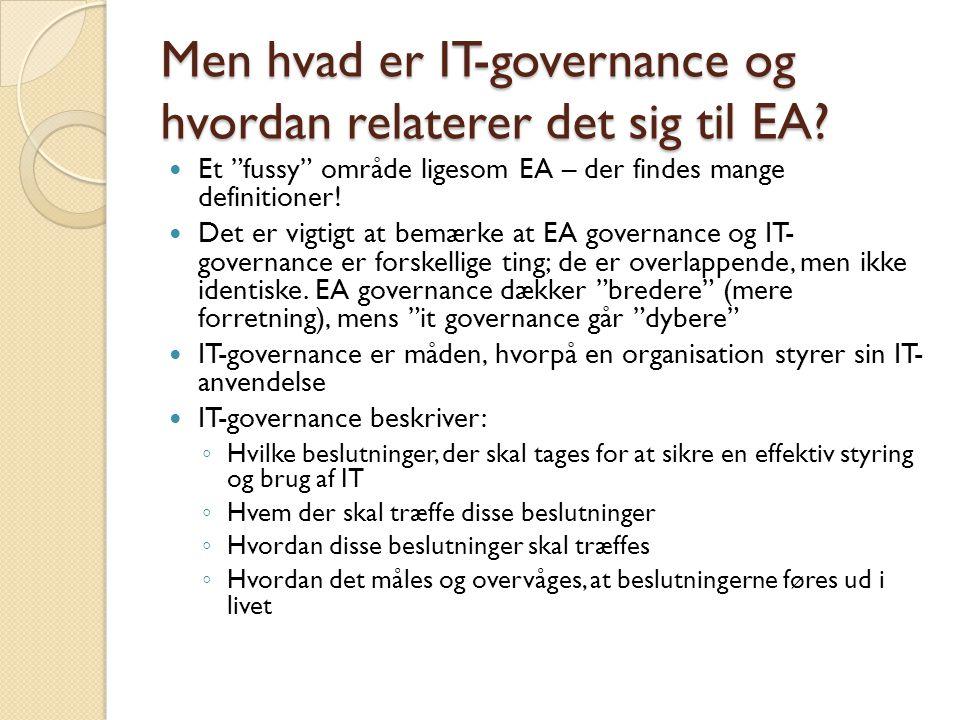 Men hvad er IT-governance og hvordan relaterer det sig til EA.