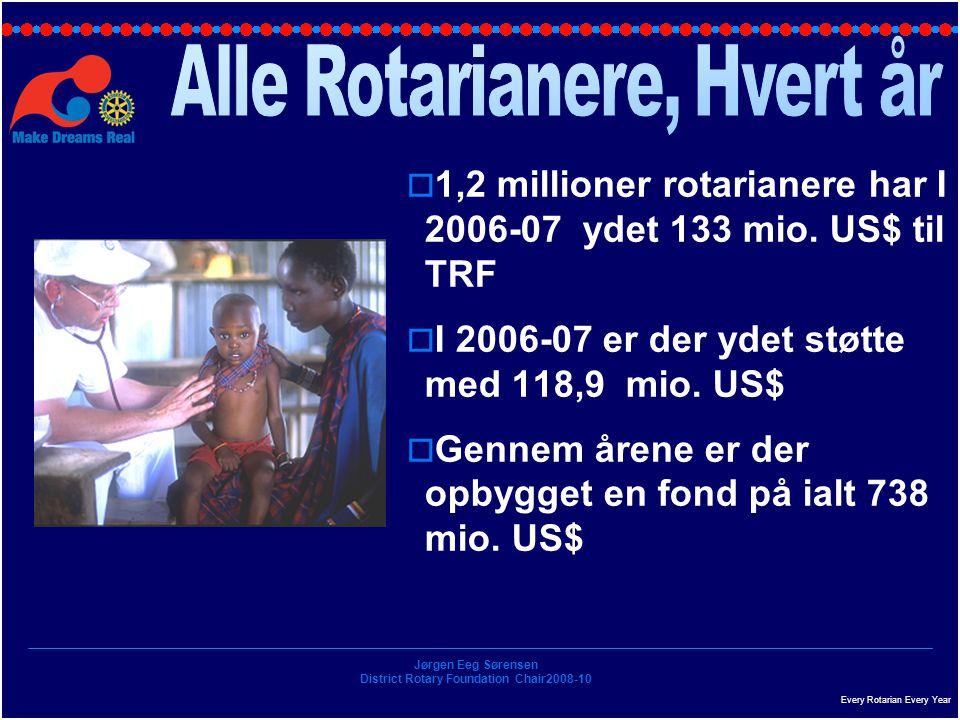 Jørgen Eeg Sørensen District Rotary Foundation Chair2008-10  1,2 millioner rotarianere har I 2006-07 ydet 133 mio.