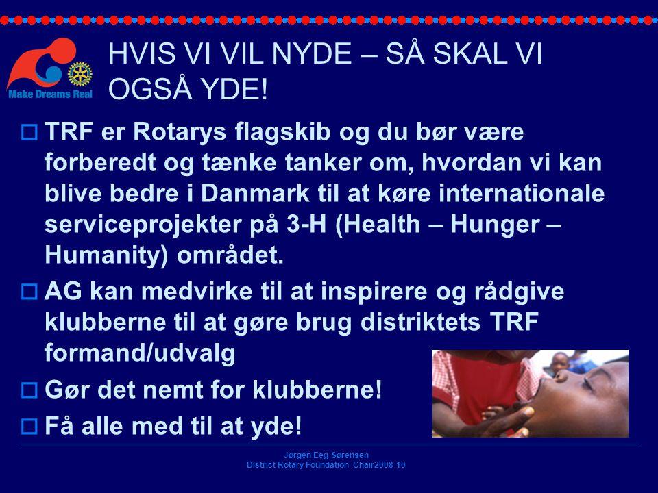 Jørgen Eeg Sørensen District Rotary Foundation Chair2008-10 HVIS VI VIL NYDE – SÅ SKAL VI OGSÅ YDE.