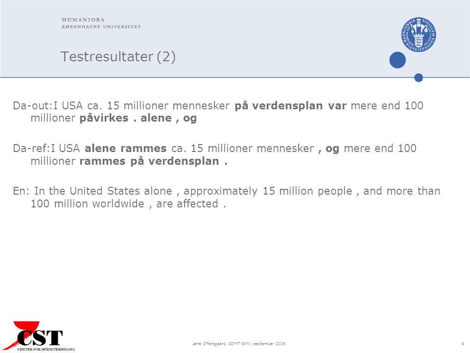 Lene Offersgaard, SDMT-SMV, september 2006 9 Testresultater (2) Da-out:I USA ca.