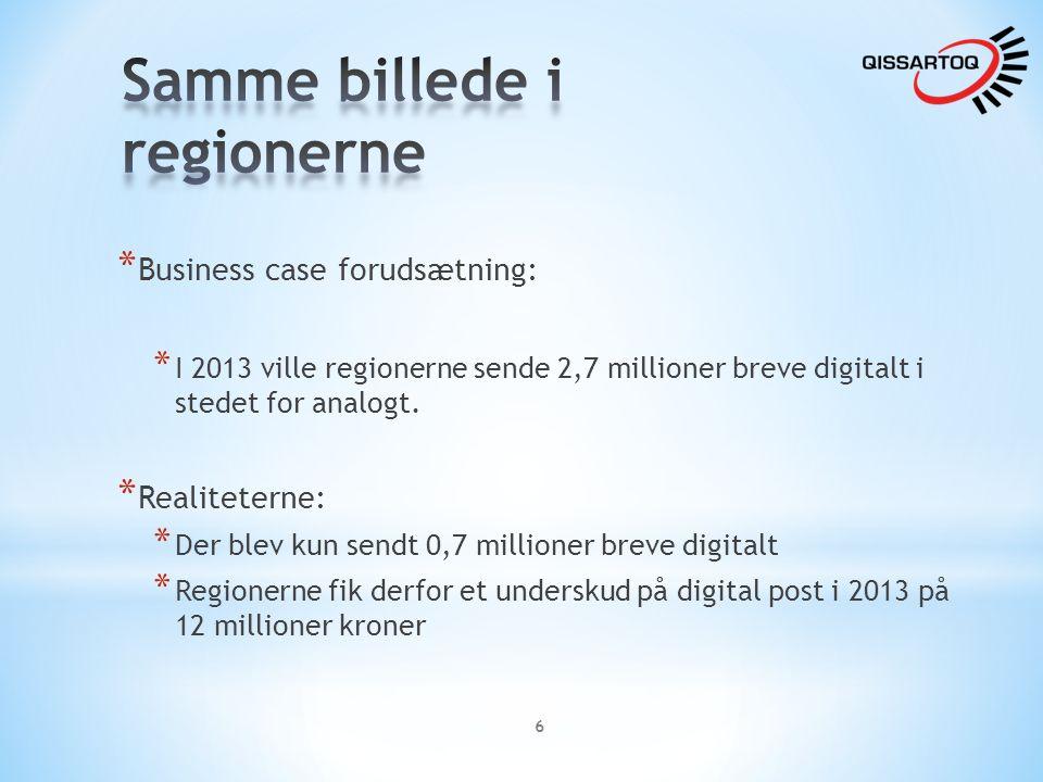 * Business case forudsætning: * I 2013 ville regionerne sende 2,7 millioner breve digitalt i stedet for analogt.