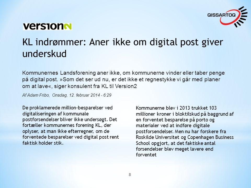 8 KL indrømmer: Aner ikke om digital post giver underskud Kommunernes Landsforening aner ikke, om kommunerne vinder eller taber penge på digital post.