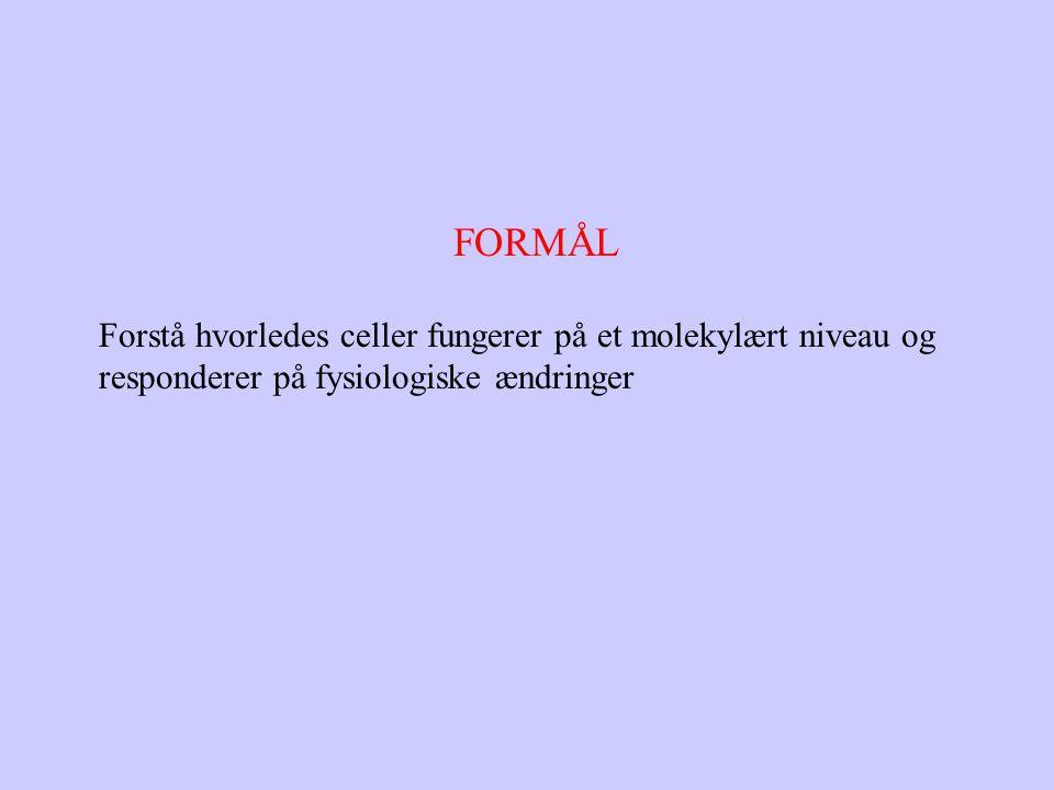 FORMÅL Forstå hvorledes celler fungerer på et molekylært niveau og responderer på fysiologiske ændringer