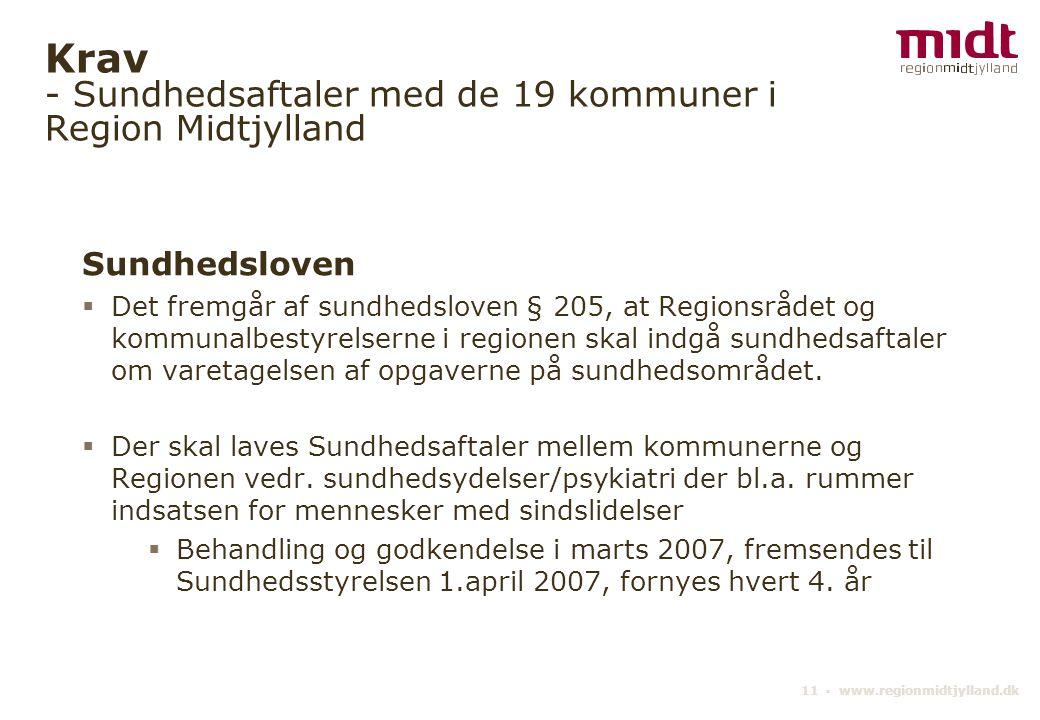 11 ▪ www.regionmidtjylland.dk Krav - Sundhedsaftaler med de 19 kommuner i Region Midtjylland Sundhedsloven  Det fremgår af sundhedsloven § 205, at Regionsrådet og kommunalbestyrelserne i regionen skal indgå sundhedsaftaler om varetagelsen af opgaverne på sundhedsområdet.
