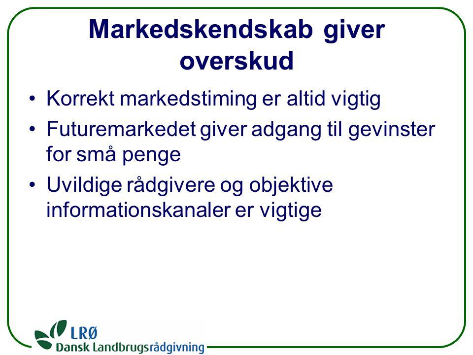 Markedskendskab giver overskud Korrekt markedstiming er altid vigtig Futuremarkedet giver adgang til gevinster for små penge Uvildige rådgivere og objektive informationskanaler er vigtige