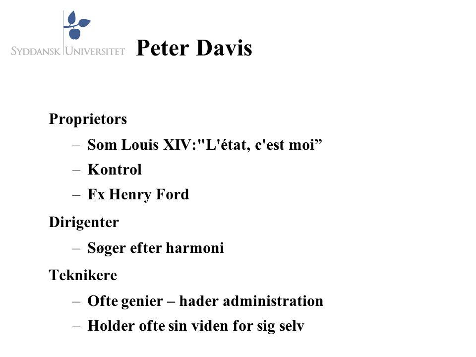 Peter Davis Proprietors –Som Louis XIV: L état, c est moi –Kontrol –Fx Henry Ford Dirigenter –Søger efter harmoni Teknikere –Ofte genier – hader administration –Holder ofte sin viden for sig selv