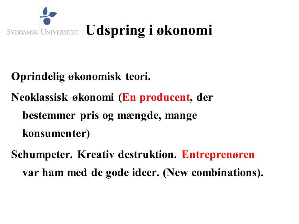 Udspring i økonomi Oprindelig økonomisk teori.