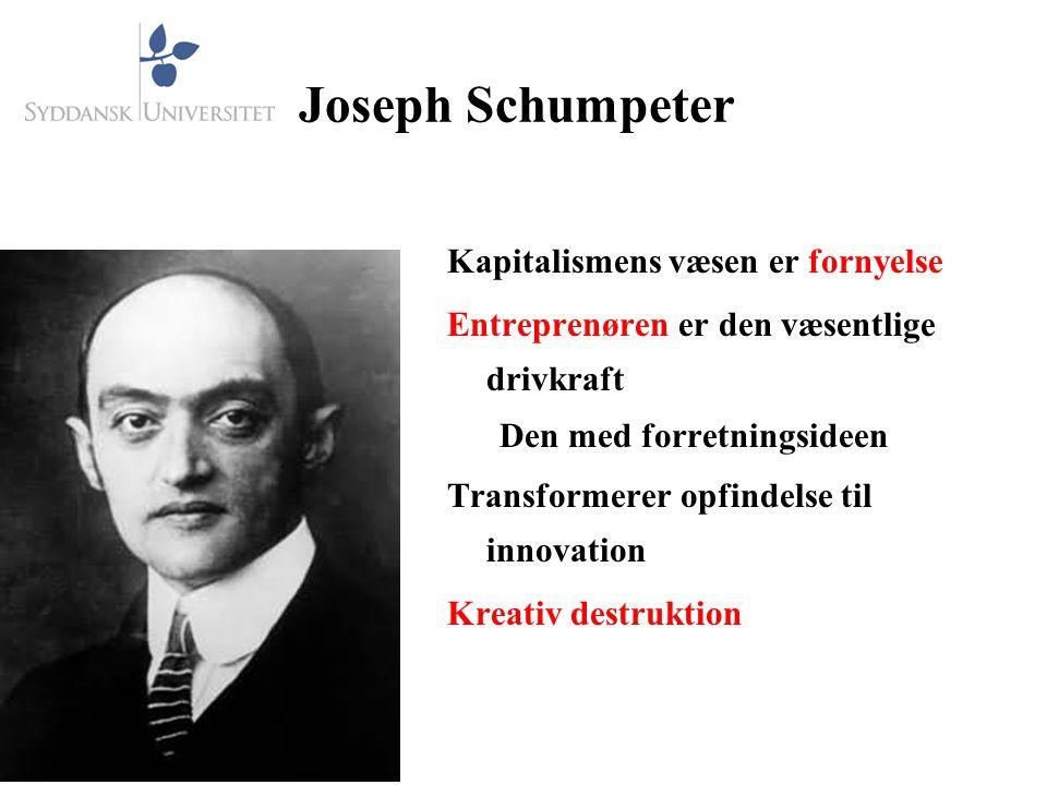 Joseph Schumpeter Kapitalismens væsen er fornyelse Entreprenøren er den væsentlige drivkraft Den med forretningsideen Transformerer opfindelse til innovation Kreativ destruktion