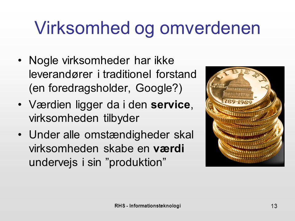 RHS - Informationsteknologi 13 Virksomhed og omverdenen Nogle virksomheder har ikke leverandører i traditionel forstand (en foredragsholder, Google?)