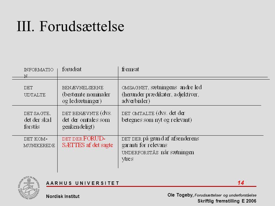 A A R H U S U N I V E R S I T E T 14 Nordisk Institut Ole Togeby, Forudsættelser og underforståelse Skriftlig fremstilling E 2006 III.