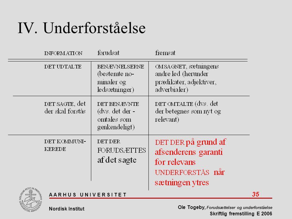 A A R H U S U N I V E R S I T E T 35 Nordisk Institut Ole Togeby, Forudsættelser og underforståelse Skriftlig fremstilling E 2006 IV.