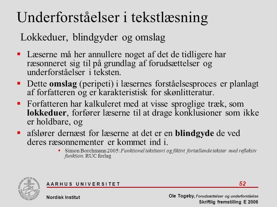 A A R H U S U N I V E R S I T E T 52 Nordisk Institut Ole Togeby, Forudsættelser og underforståelse Skriftlig fremstilling E 2006 Underforståelser i tekstlæsning Lokkeduer, blindgyder og omslag  Læserne må her annullere noget af det de tidligere har ræsonneret sig til på grundlag af forudsættelser og underforståelser i teksten.
