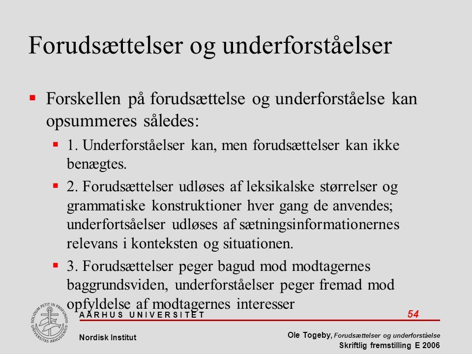 A A R H U S U N I V E R S I T E T 54 Nordisk Institut Ole Togeby, Forudsættelser og underforståelse Skriftlig fremstilling E 2006 Forudsættelser og underforståelser  Forskellen på forudsættelse og underforståelse kan opsummeres således:  1.