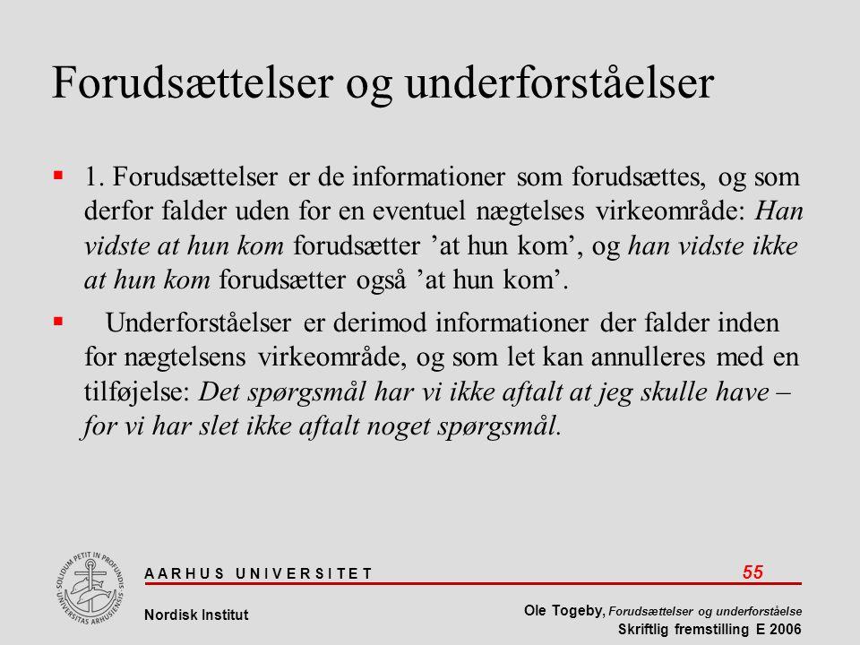 A A R H U S U N I V E R S I T E T 55 Nordisk Institut Ole Togeby, Forudsættelser og underforståelse Skriftlig fremstilling E 2006 Forudsættelser og underforståelser  1.