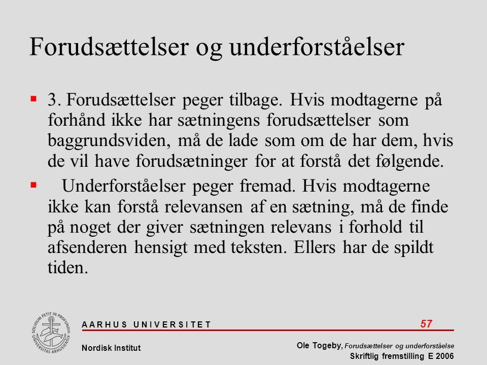 A A R H U S U N I V E R S I T E T 57 Nordisk Institut Ole Togeby, Forudsættelser og underforståelse Skriftlig fremstilling E 2006 Forudsættelser og underforståelser  3.