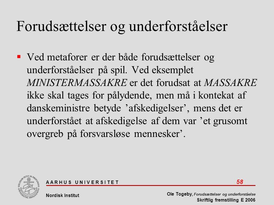 A A R H U S U N I V E R S I T E T 58 Nordisk Institut Ole Togeby, Forudsættelser og underforståelse Skriftlig fremstilling E 2006 Forudsættelser og underforståelser  Ved metaforer er der både forudsættelser og underforståelser på spil.