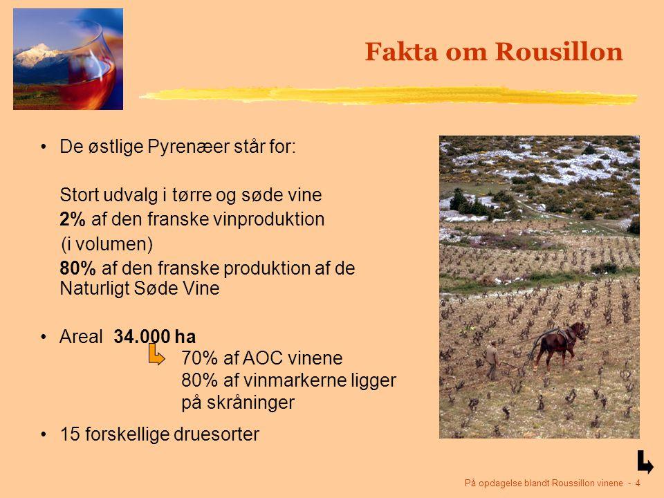 På opdagelse blandt Roussillon vinene - 4 De østlige Pyrenæer står for: Stort udvalg i tørre og søde vine 2% af den franske vinproduktion (i volumen) 80% af den franske produktion af de Naturligt Søde Vine Areal 34.000 ha 15 forskellige druesorter Fakta om Rousillon 70% af AOC vinene 80% af vinmarkerne ligger på skråninger