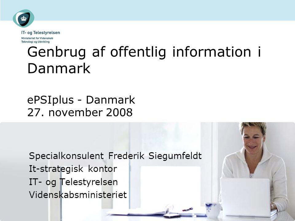 Genbrug af offentlig information i Danmark ePSIplus - Danmark 27.