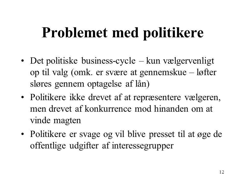12 Problemet med politikere Det politiske business-cycle – kun vælgervenligt op til valg (omk.