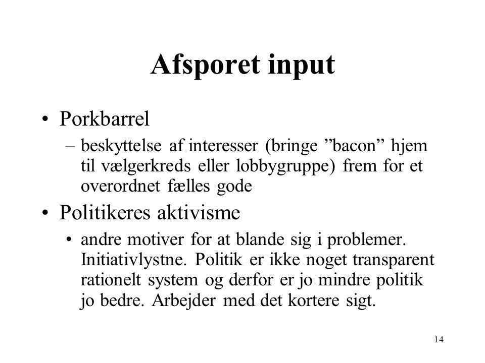 14 Afsporet input Porkbarrel –beskyttelse af interesser (bringe bacon hjem til vælgerkreds eller lobbygruppe) frem for et overordnet fælles gode Politikeres aktivisme andre motiver for at blande sig i problemer.