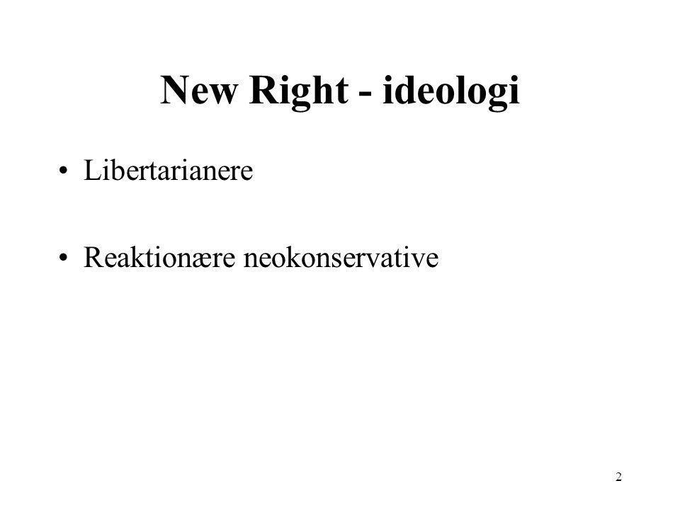 2 New Right - ideologi Libertarianere Reaktionære neokonservative