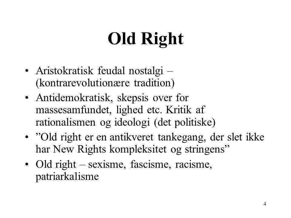 4 Old Right Aristokratisk feudal nostalgi – (kontrarevolutionære tradition) Antidemokratisk, skepsis over for massesamfundet, lighed etc.