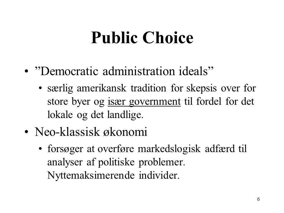 6 Public Choice Democratic administration ideals særlig amerikansk tradition for skepsis over for store byer og især government til fordel for det lokale og det landlige.