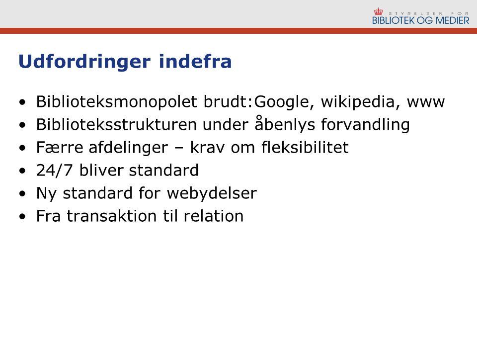 Udfordringer indefra Biblioteksmonopolet brudt:Google, wikipedia, www Biblioteksstrukturen under åbenlys forvandling Færre afdelinger – krav om fleksibilitet 24/7 bliver standard Ny standard for webydelser Fra transaktion til relation