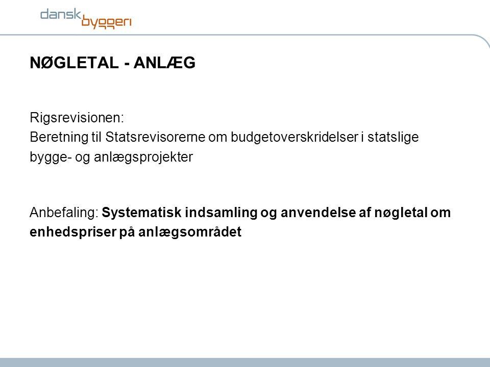 NØGLETAL - ANLÆG Rigsrevisionen: Beretning til Statsrevisorerne om budgetoverskridelser i statslige bygge- og anlægsprojekter Anbefaling: Systematisk indsamling og anvendelse af nøgletal om enhedspriser på anlægsområdet