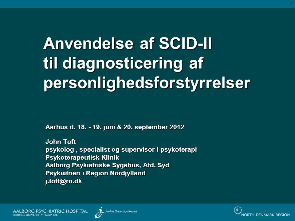 SCID-II Paranoid personlighedsforstyrrelseMistillid og mistænksomhed Skizoid personlighedsforstyrrelseAfsondrethed og begrænset følelsesmæssig udtryk Skizotypal personlighedsforstyrrelse Manglende kapacitet til nære relationer og kognitive og perceptuelle forstyrrelser Antisocial personlighedsforstyrrelse Manglende empati, udnyttelse og krænkelse af andre Borderline personlighedsforstyrrelse Ustabilitet Histrionisk personlighedsforstyrrelse Overdreven emotionalitet og opmærksomhedsøgen Narcissistisk personlighedsforstyrrelse Behov for beundring og manglende empati Evasiv personlighedsforstyrrelseUndgåelse Dependent personlighedsforstyrrelse Passiv afhængighed Obsessiv-kompulsiv personlighedsforstyrrelse Overoptagethed af ordentlighed, perfektionisme og kontrol