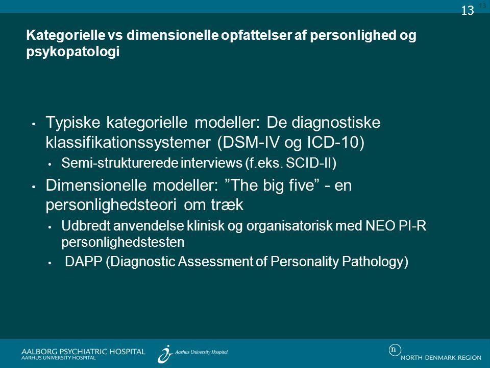 Kategorielle vs dimensionelle opfattelser af personlighed og psykopatologi Typiske kategorielle modeller: De diagnostiske klassifikationssystemer (DSM-IV og ICD-10) Semi-strukturerede interviews (f.eks.