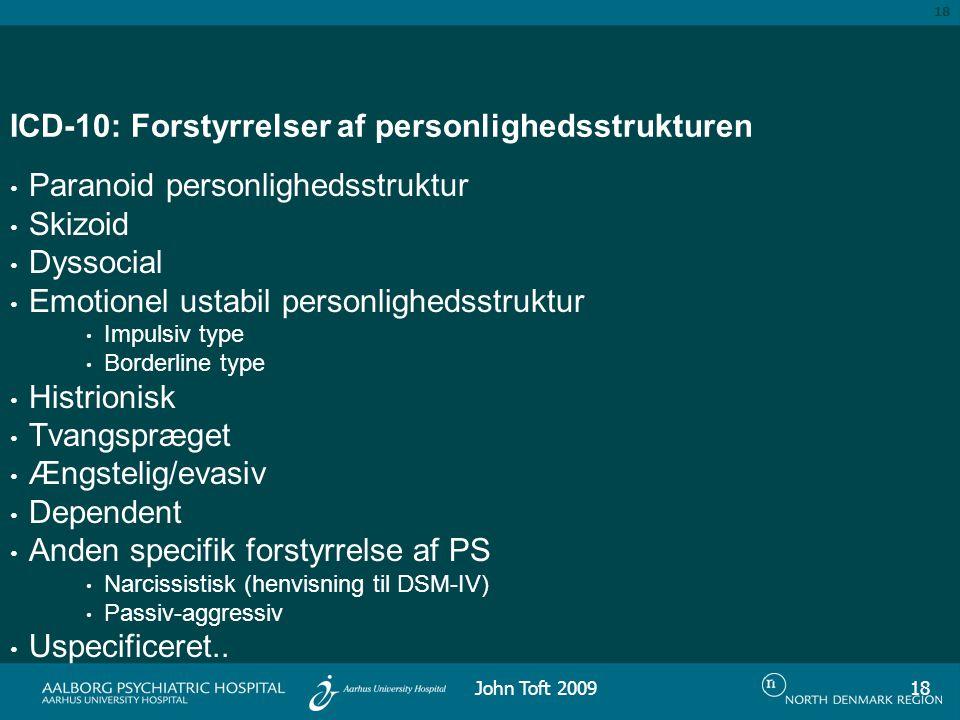 18 ICD-10: Forstyrrelser af personlighedsstrukturen Paranoid personlighedsstruktur Skizoid Dyssocial Emotionel ustabil personlighedsstruktur Impulsiv type Borderline type Histrionisk Tvangspræget Ængstelig/evasiv Dependent Anden specifik forstyrrelse af PS Narcissistisk (henvisning til DSM-IV) Passiv-aggressiv Uspecificeret..