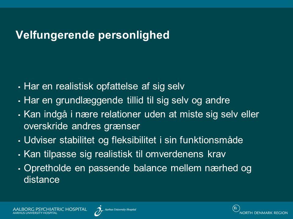 Prævalens af PD blandt befolkningen i Oslo (N=2,053) Personality Disorder Present Prevalence Paranoid2.4 % Schizoid1.7 Schizotypal0.6 Antisocial0.7 Borderline0.7 Histrionic2.0 Narcissistic0.8 Avoidant5.0 Dependent1.5 Obsessive-Compulsive2.0 Torgersen, Kringlen, Cramer; 2001
