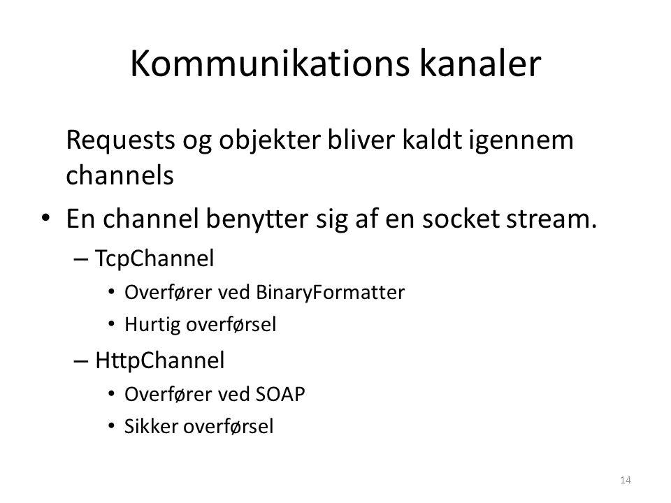 Kommunikations kanaler Requests og objekter bliver kaldt igennem channels En channel benytter sig af en socket stream.