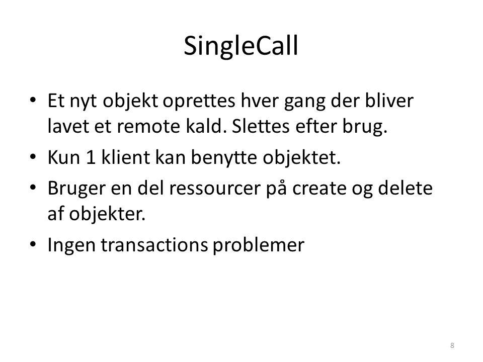 SingleCall Et nyt objekt oprettes hver gang der bliver lavet et remote kald.