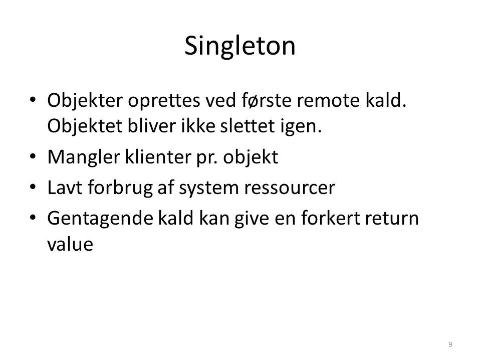 Singleton Objekter oprettes ved første remote kald.