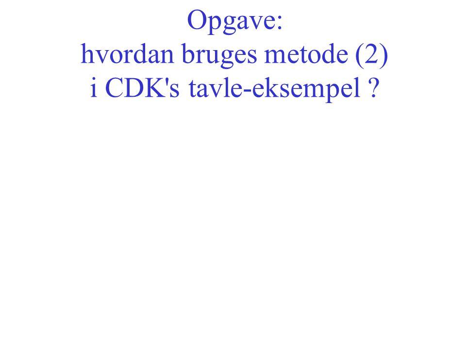 Opgave: hvordan bruges metode (2) i CDK s tavle-eksempel