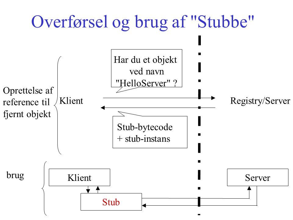 Overførsel og brug af Stubbe Klient Registry/Server Har du et objekt ved navn HelloServer .