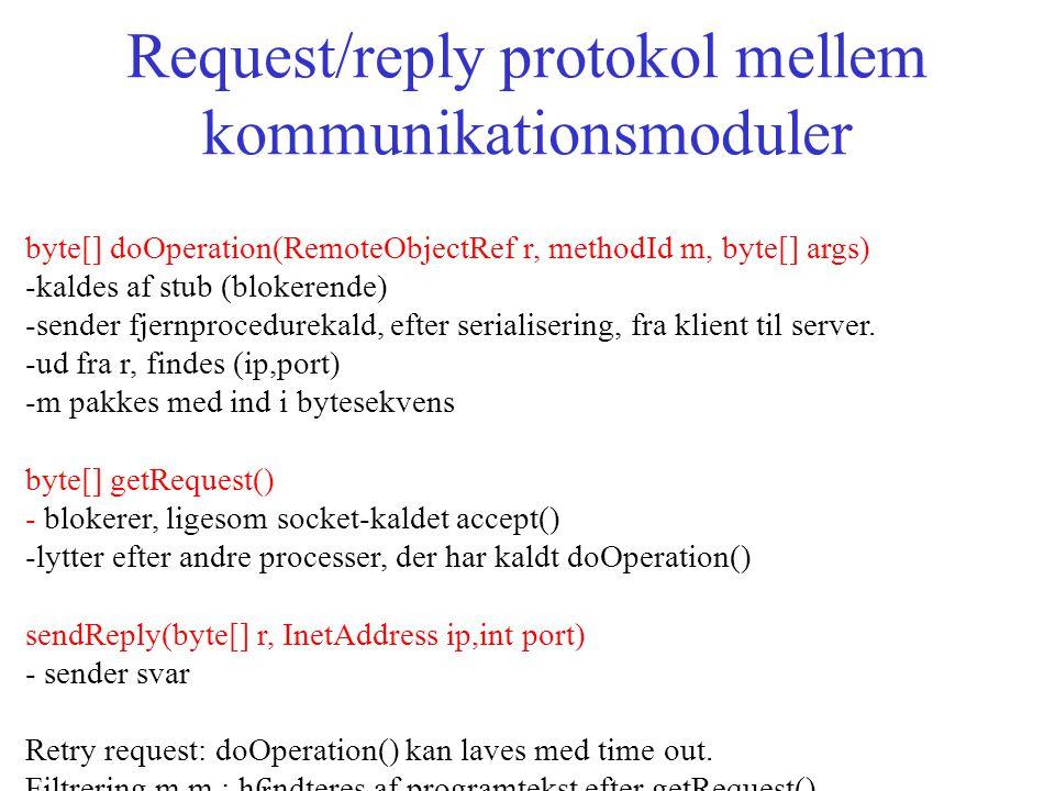 Request/reply protokol mellem kommunikationsmoduler byte[] doOperation(RemoteObjectRef r, methodId m, byte[] args) -kaldes af stub (blokerende) -sender fjernprocedurekald, efter serialisering, fra klient til server.