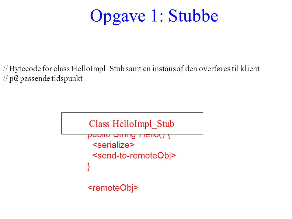 Opgave 1: Stubbe // Bytecode for class HelloImpl_Stub samt en instans af den overføres til klient // p ₢ passende tidspunkt public String Hello() { } Class HelloImpl_Stub