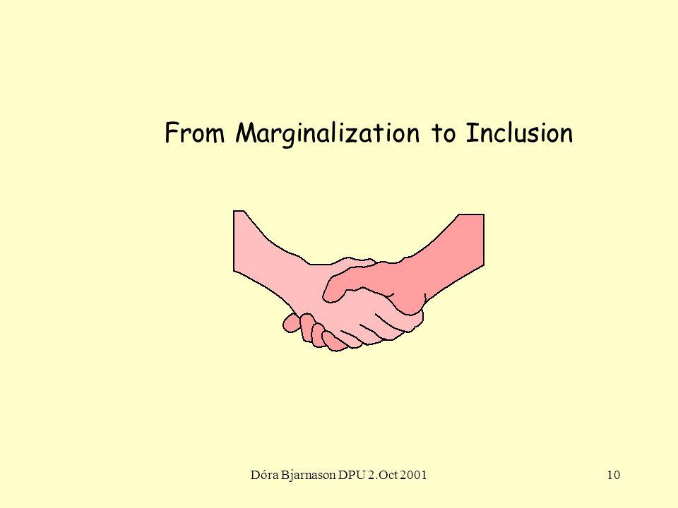 Dóra Bjarnason DPU 2.Oct 200110 From Marginalization to Inclusion